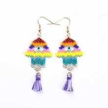 Shinus 5 Pairs/lot Miyuki Earrings Evil Eyes Women Drop Fatima Hand Bohemia Handmade Jewelry pendientes mujer moda 2019