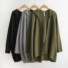 women hooded plus size wool sweater coats long loose autumn2016 knitted women wool sweater cardigan outwear