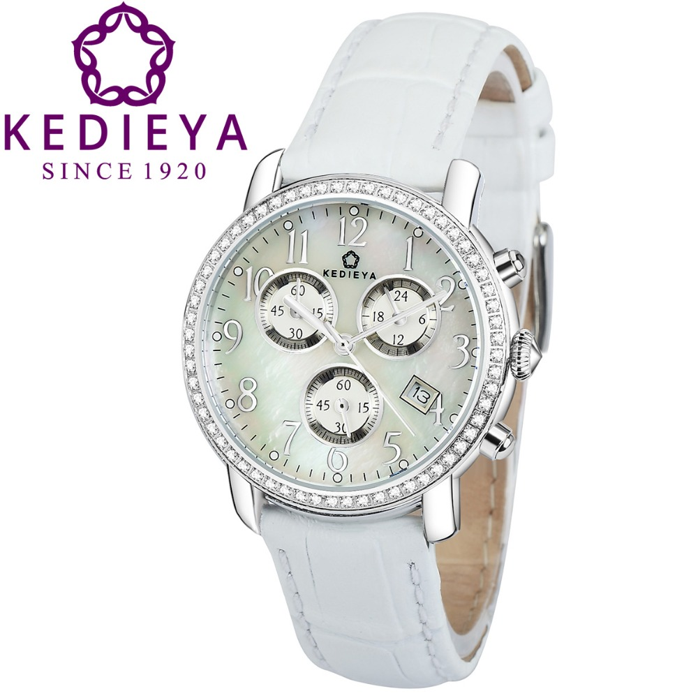 KEDIEYA Brands Womens Luxury Date Display 5ATM Chronograph Sport Watches Zircon Diamond Pearl Dial Ladies Girls