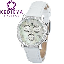 KEDIEYA Brands Womens Luxury Date Display 5ATM Chronograph Sport Watches Zircon Diamond Pearl Dial Ladies Girls Watches Gifts