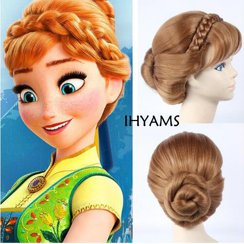 Top Qualtiy Braids Short Natural Brown Mix Blonde Anna Updo Synthetic Hair Cosplay Wig + Wig Cap