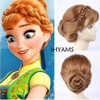 Top Qualtiy Braids Short Natural Brown Mix Blonde Anna Updo Synthetic Hair Cosplay Wig + Wig Cap - DISCOUNT ITEM  10% OFF All Category