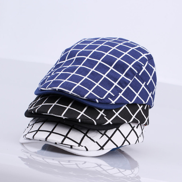 d4dd58244b9 New Fashion Gatsby Newsboy Cap Men Cotton Hat Golf Driving Flat Cabbie  Unisex Plaid Check Berets Hat Duckbill Cap
