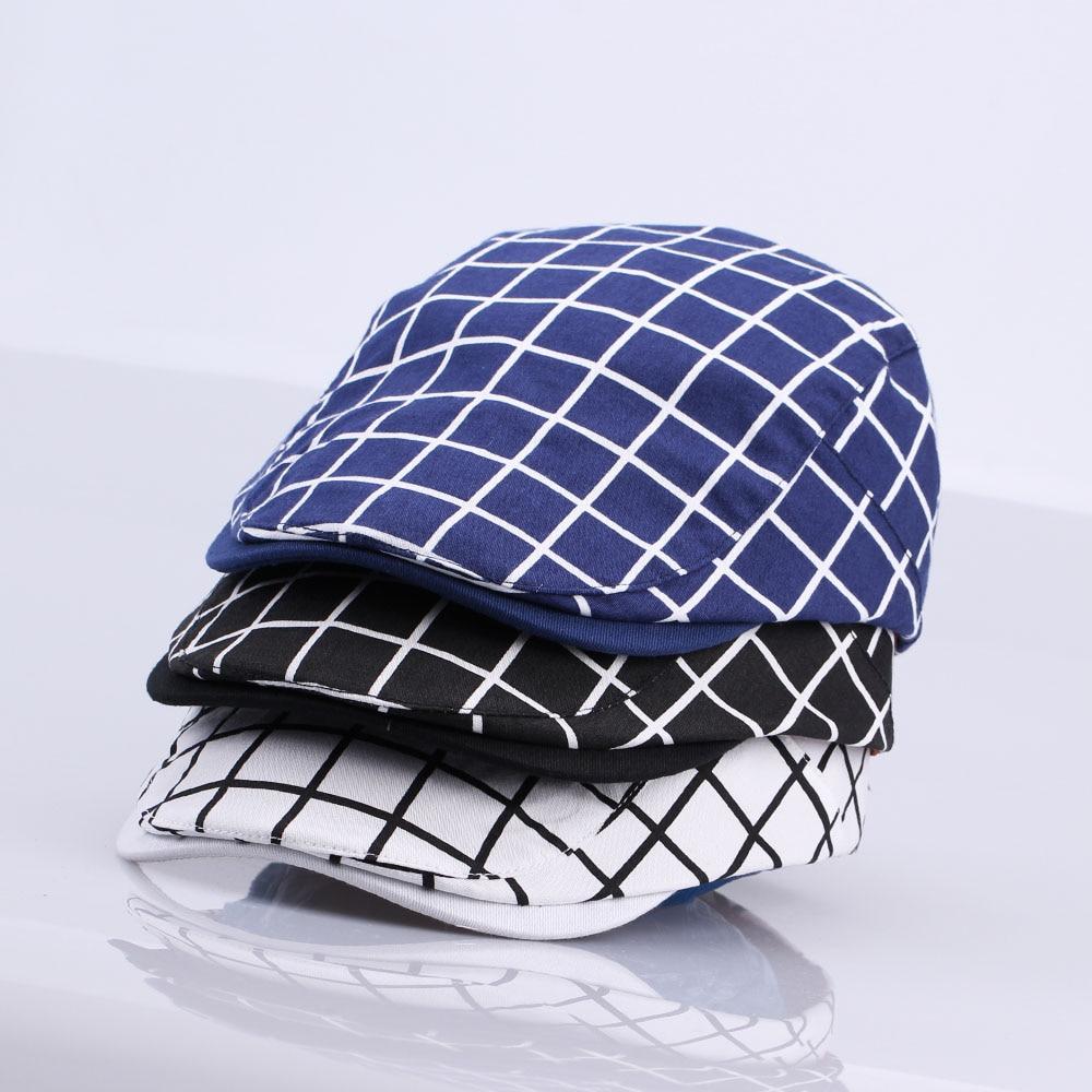 New Fashion Gatsby Newsboy Cap Men Cotton Hat Golf Driving Flat Cabbie Unisex Plaid Check Berets Hat Duckbill Cap