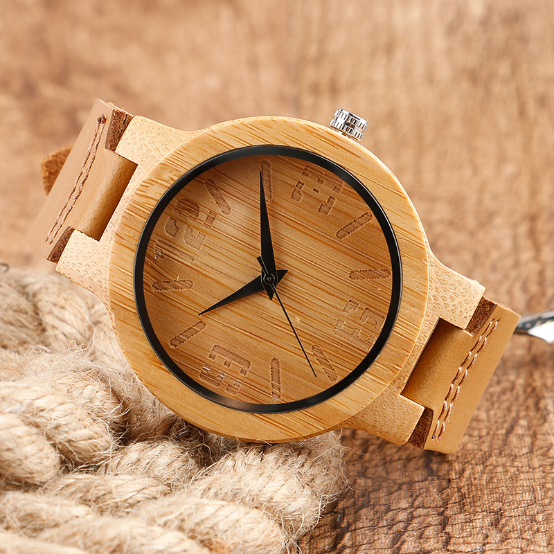 100% Nature Wood Watches Creative Simple Numbers Wristwatch Mens Genuine Leather Quartz Watches Men Bamboo Handmade Clock Gift