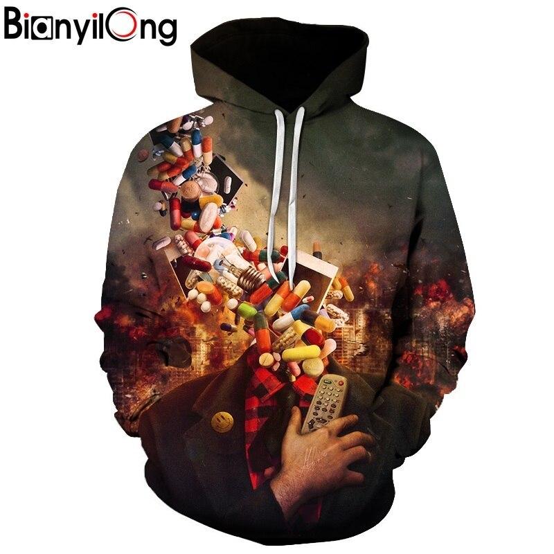 BIANYILONG New Fashion Men/Women 3d Hoodies Print pills Designed 3d Sweatshirts Unisex Space Galaxy Hooded Hoodies