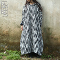 Spring Autumn Folk Style XXXLdust trench pure cotton pullover dress Casual Oversized Outwear with Wizard Hat