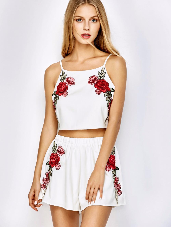 HTB1lpIfPXXXXXX5apXXq6xXFXXXO - FREE SHIPPING Women Suits Rose Tops Summer Playsuit Sets JKP038