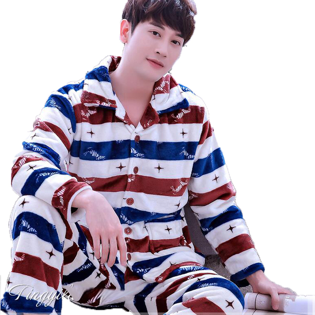 Fall Winter Mens Flannel Pajama Sets O-Neck Long Sleeve Warm Coral Fleece Sleepwear Two Piece Set Male Pyjamas Pijama Hombre