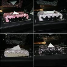 Colorful Diamante Crystal Car Tissue Box Luxury Leather with Rhinestone Paper Tower Storage Women
