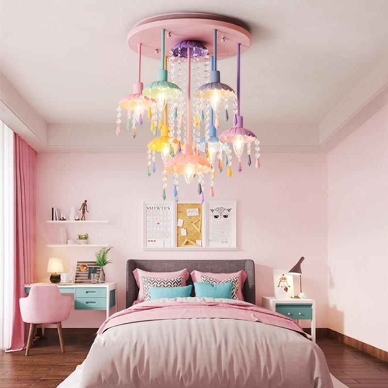 Macaron Sweet Color Candle Chandelier Restaurant Lamp Bedroom Lamp Children's Room Girl Princess Home Decoration Lamps.