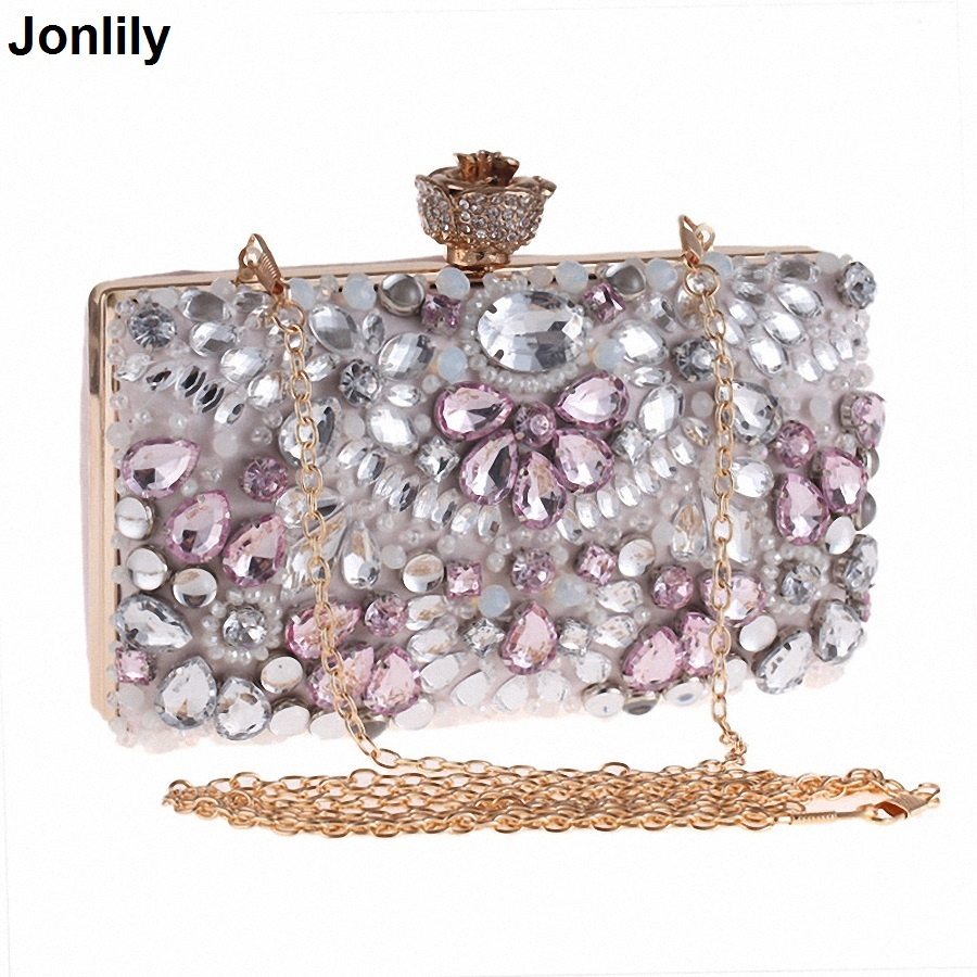 Colorful Diamond Party Ladies Evening Clutch Bags Appliques Chain Women Shoulder Purse Handbag with Luxury Pearl SLI-358 luxury crystal clutch handbag women evening bag wedding party purses banquet