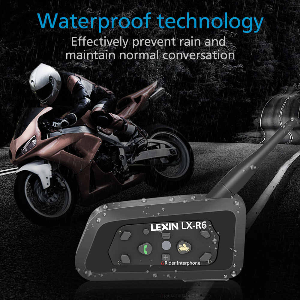 83deb9ecb61 ... 2PCS Lexin R6 Motorcycle Bluetooth Helmet Headsets Intercom for 6  riders BT Wireless intercomunicador Interphone MP3 ...