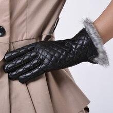 2017 sexy women arrived high grade fashion autumn winter warm plaid stitching Rabbit fur belt mesh lovely korean gloves mittens