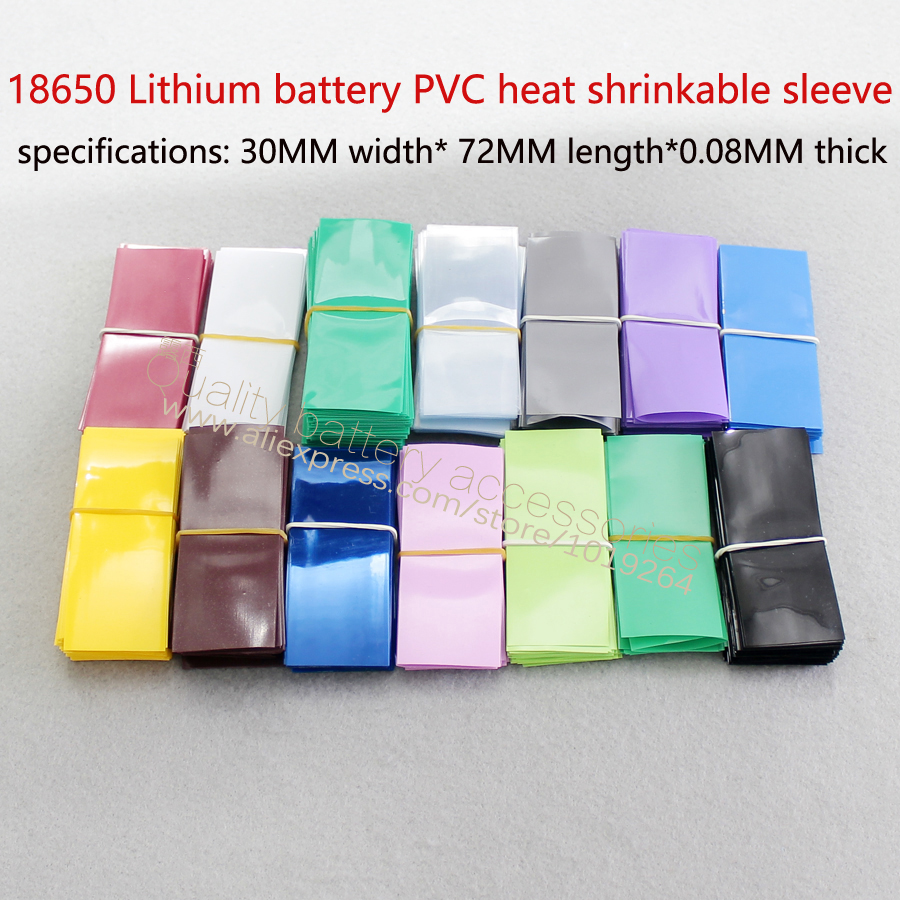 Купить с кэшбэком 100pcs/lot 18650 lithium battery insulation PVC thermal shrinkage skin membrane battery casing pipe heat shrinkage 30 mm * 72 mm