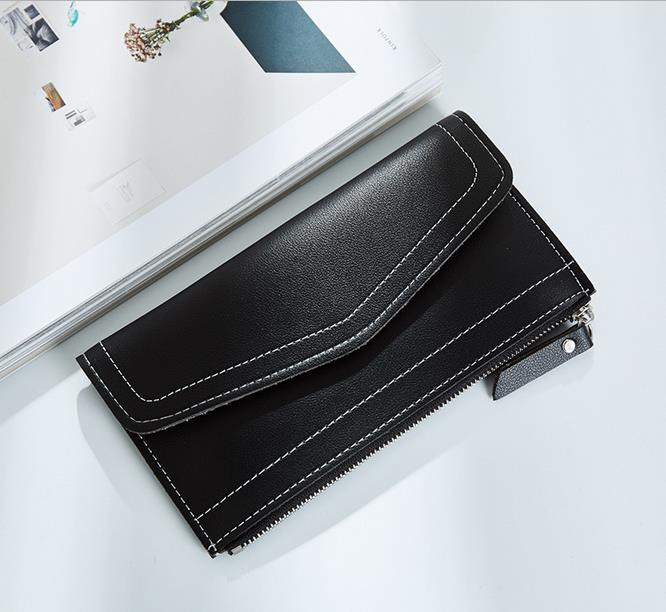 Famous Brand Pu Leather Women Wallet Long Female Zipper Thin Purse Cards Holder Clutch Handbag Ladies Fashion Money Bag