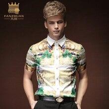 FANZHUAN  Summer Floral Print Men Shirts Short Sleeve Mens Casual Shirt Slim Men  Dress Shirts   Floral Tuxedo Shirt  Costumes