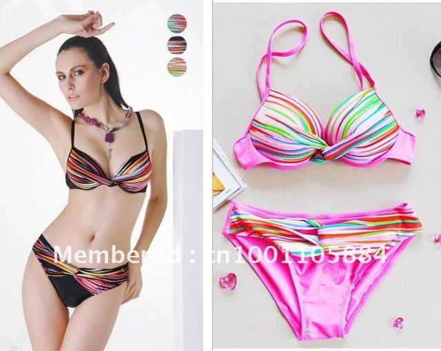 Red,Pink and black Striped Bikini in Rainbow Women's Multip striped Padded Swimsuit Wholesales