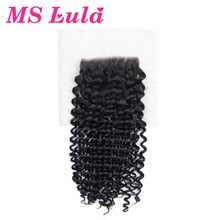 MS Lula Hair Lace Closure Mongolian Kinky Curly Hair Swiss Lace with Baby Hair 100% Human Remy Hair Free Shipping