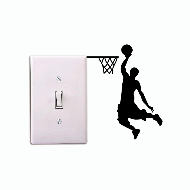 separation shoes 290ec 93f0f Online Shop Basketball Player Dunk Silhouette Light Switch Sticker Cartoon  Sport Vinyl Wall Stickers Home Decor   Aliexpress Mobile