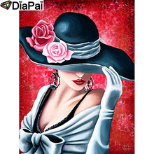 DIAPAI 5D DIY Diamond Painting 100% Full Square/Round Drill Beauty hat flower Embroidery Cross Stitch 3D Decor A21472