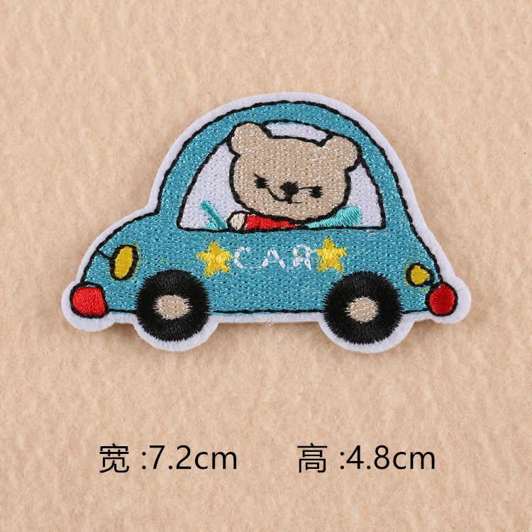 Plastry dzieci samochody światła sygnalizacyjne haft pasek żelazko na odzież aplikacje naklejki DIY łatki