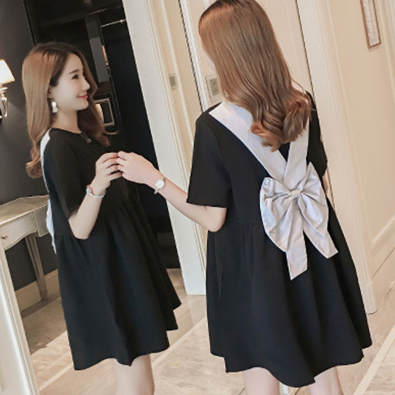 Summer Stylish Doll Pregnant Women New Back Bow Lovely Backless Dress Short-sleeved Little Black Dress comfortable Maternity Платье