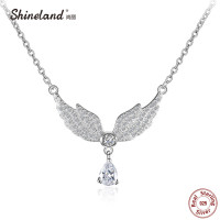 Shineland 2017 Women Necklace 100 Genuine 925 Sterling Silver Angel Wings AAA Zircon Choker Necklaces Pendants