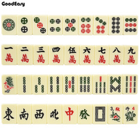 Traveling Mahjong Set with Canvas Bag Mahjong Games Home Games Hot Sell Chinese Funny Family Table Board Game 30mm