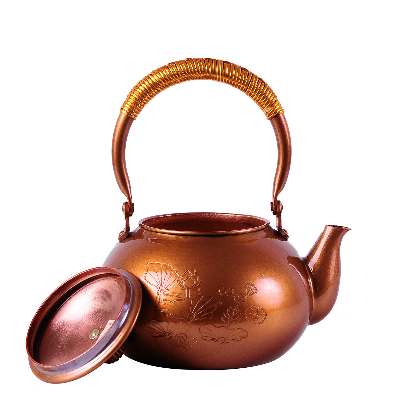 2016 Tetera de hierro fundido juego de té japonés de Kung Fu sin recubrimiento hecho a mano Japón loto púrpura tetera con filtro gran oferta - 3