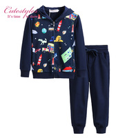 Pettigirl 2016 New Girls Clothing Set Navy Casual Girls Suit Printing Zipper Coat And Pants Baby