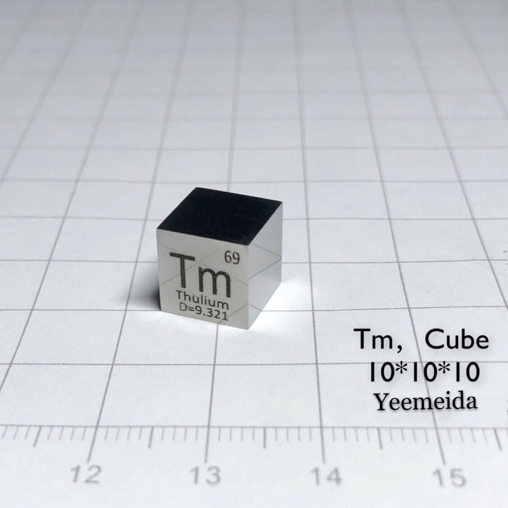 Thulium Tm Metal MIRROR POLISHED 10mm Density Cube 99 99 Pure for Element Collection