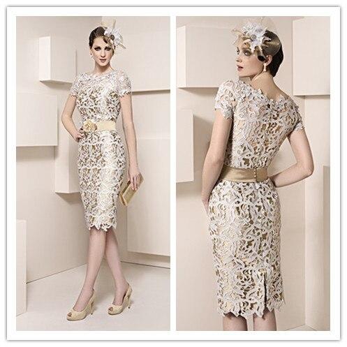 Великолепная короткие колен мать платья оболочка кружевные аппликации свадебное мать невесты платья на заказ