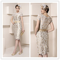 Gorgeous Short Knee Length Mother Dresses Sheath Lace Appliques Wedding Mother Of Bride Dresses Custom Made