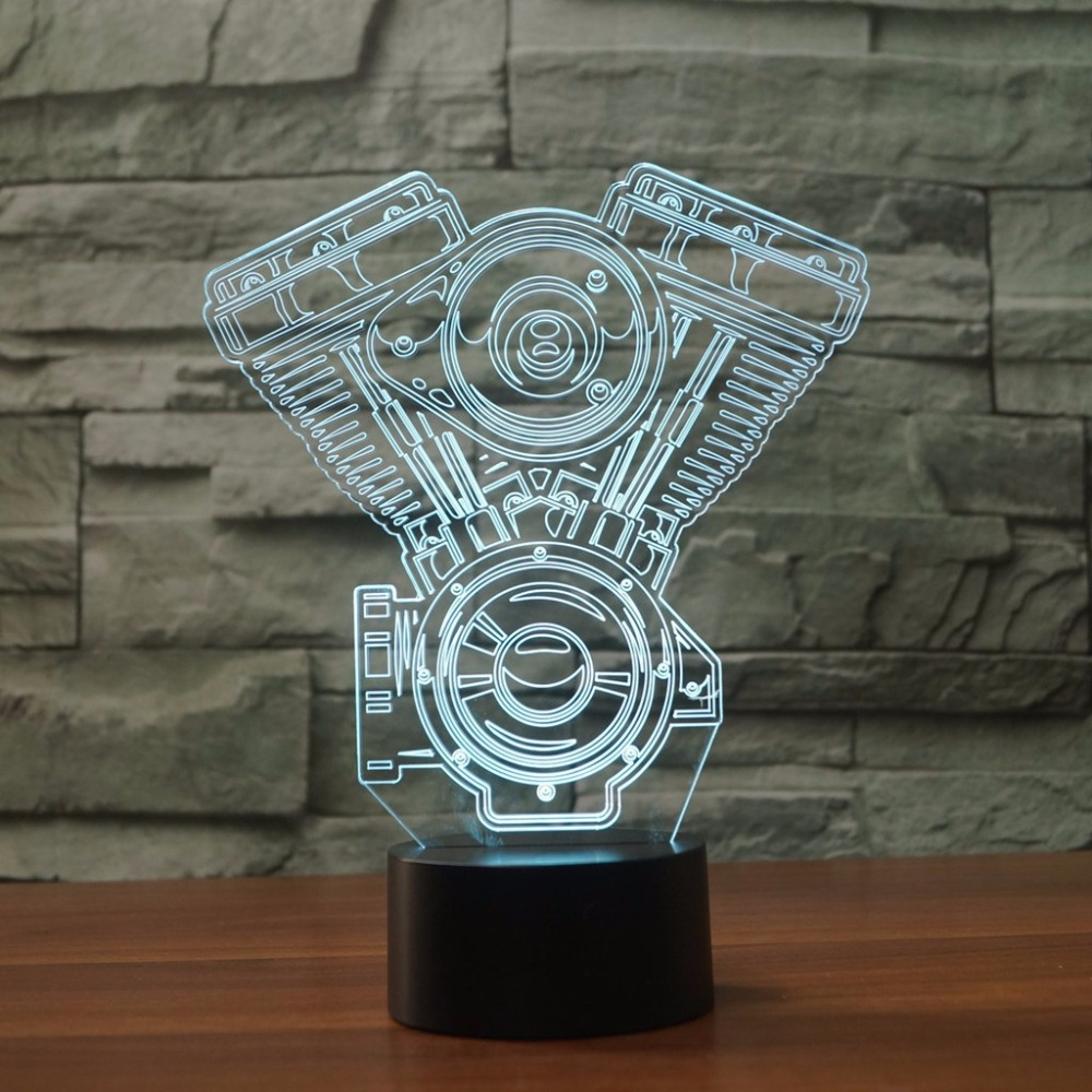 Motorcycle 3D Visual LED Night Light For Kids Touch Button USB Engine Table Lamp Baby Sleep Lighting Home Decor Light Fixtures