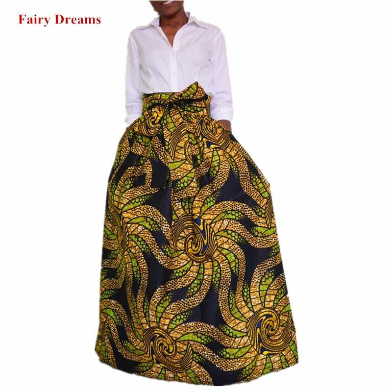 e3a1ddbf525 Plus Size Africa Skirts With Bow 5XL Ankara African Traditional Clothing  Golden Printed Women Summer Autumn