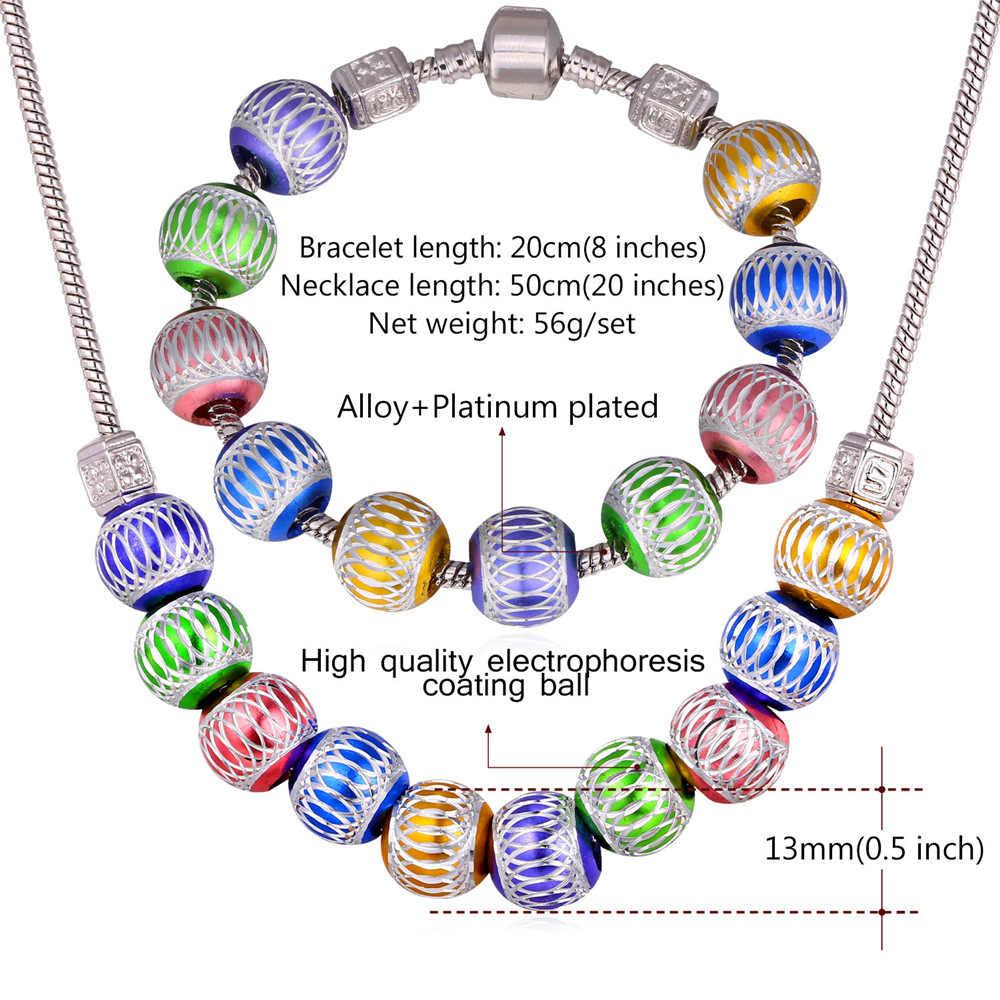 U7 Цветные бусы Ожерелье Браслет Ювелирные Комплекты Для Женщин Шармы Бусина Украшения Оптом S762