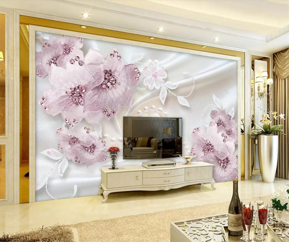 beibehang Custom mural 3d stereo photo wallpaper luxury diamond flower 3d jewelry background wall paper painting papel de parede in Wallpapers from Home Improvement