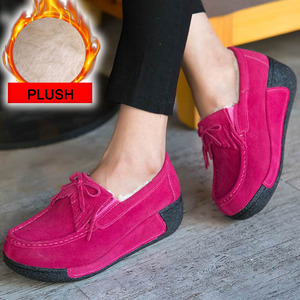 Image 3 - Winter Women Shoes Genuine Leather with Fur Shoes Woman Moccasins Flats Casual Cotton Warm Shoes Women Platform Loafers WSH3353