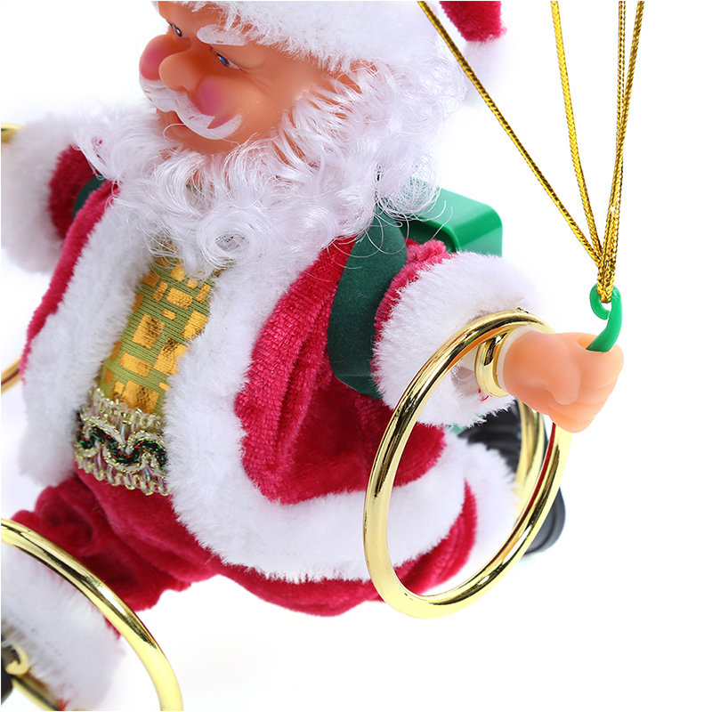 Électrique noël père noël jouets noël suspendu Rotation Parachute tour acrobatie père noël animé peluche jouet Musical - 5