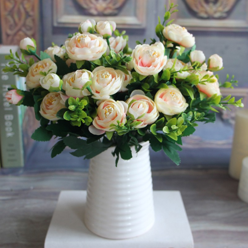 Us 1 11 25 Off Wedding Decoration Artificial Flowers 6 Branches Vivid Fake Peony Flower Silk Flower Wedding Home Party Decoration In Artificial