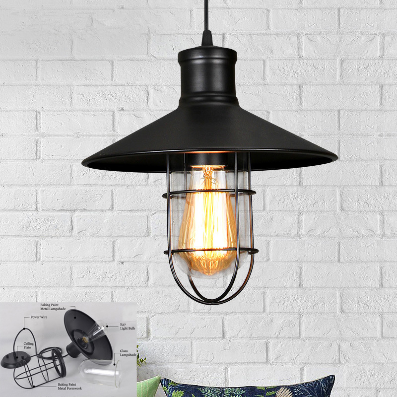 где купить Vintage Pendant Lights Black Metal Lighting Fixtures Kitchen Island Bar Office Shop Antique Glass Shade LED Pendant Ceiling Lamp дешево