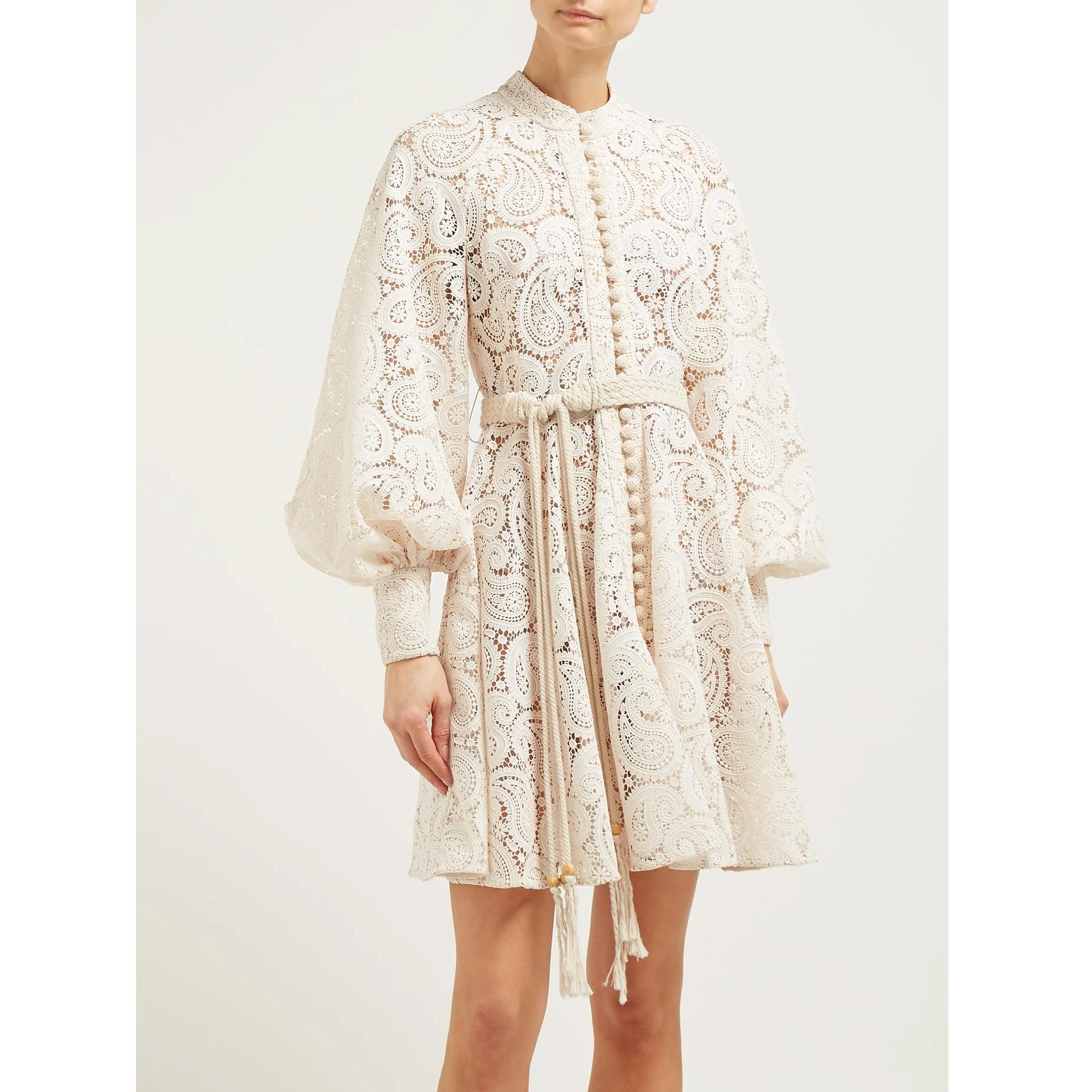 Amari 페이즐리 크로 셰 뜨개질 미니 드레스 하이 엔드 사용자 정의 레이스 꽃 드레스 절묘한 긴 소매 드레스 투피스 세트-에서드레스부터 여성 의류 의  그룹 1