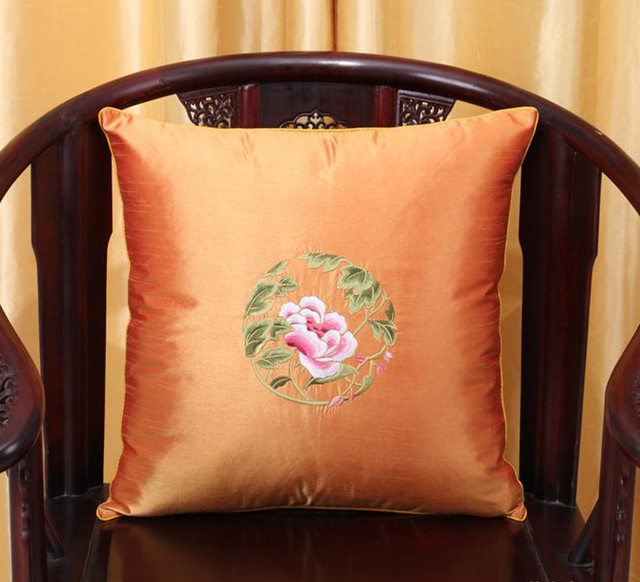 Fine Embroidery Peony Xmas Cushion Covers Pillow Decorative Pillowcases Office Home Couch Chair Lumbar Cushion Cover Chinese