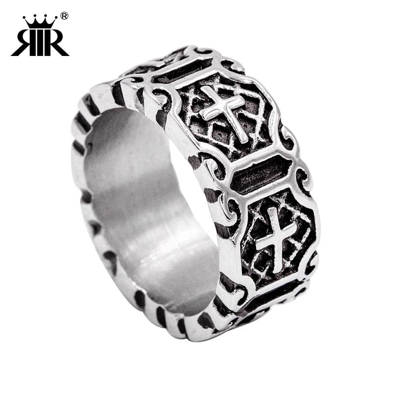 RIR Vroča prodaja Etherial Ročno izdelan križni obroč Križni prstan Srednjeveški viteški prstan Srebrni templjarski prstan iz nerjavečega jekla za moške