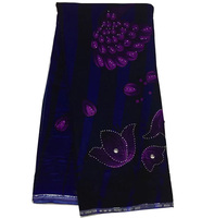 5yards Pc High Quality Smooth African Velvet Lace Fabric With Diamond Stones In Royal Blue