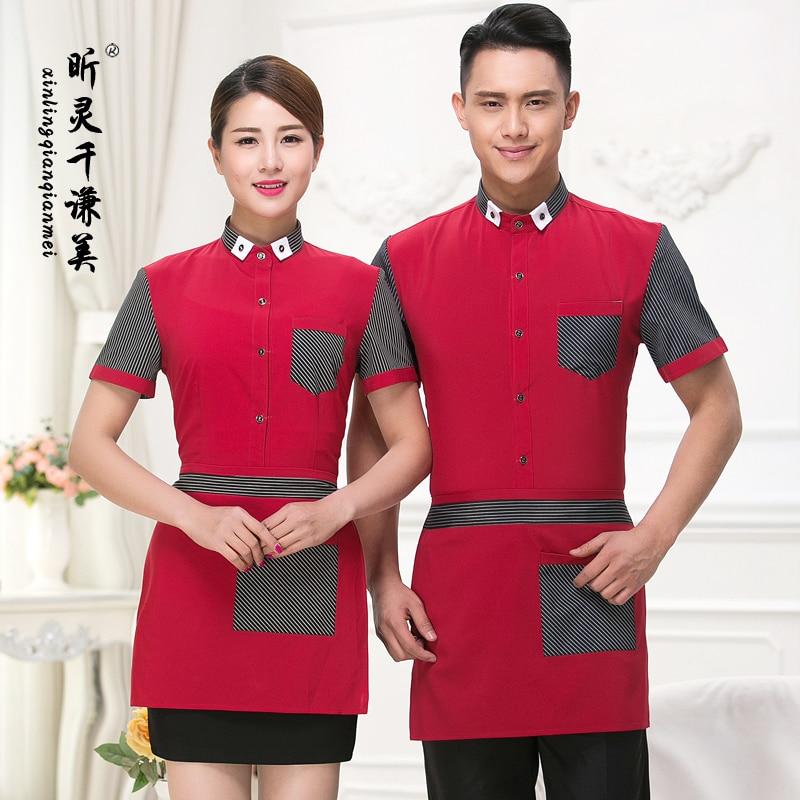 Hotel Uniform Summer Girls Restaurant Waiter Restaurant Hotel Restaurant Hot Pot Shop Short Sleeved Overalls J268