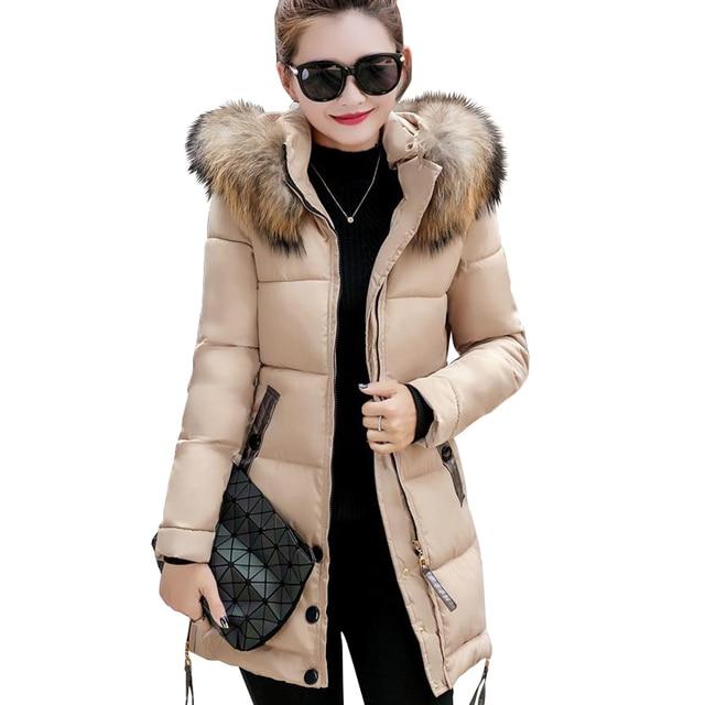 2018 cổ áo lông thú cộng với kích thước 3XL phụ nữ mùa đông trùm đầu áo khoác áo khoác nữ parka ladies ấm áo khoác dài mỏng jaqueta feminina