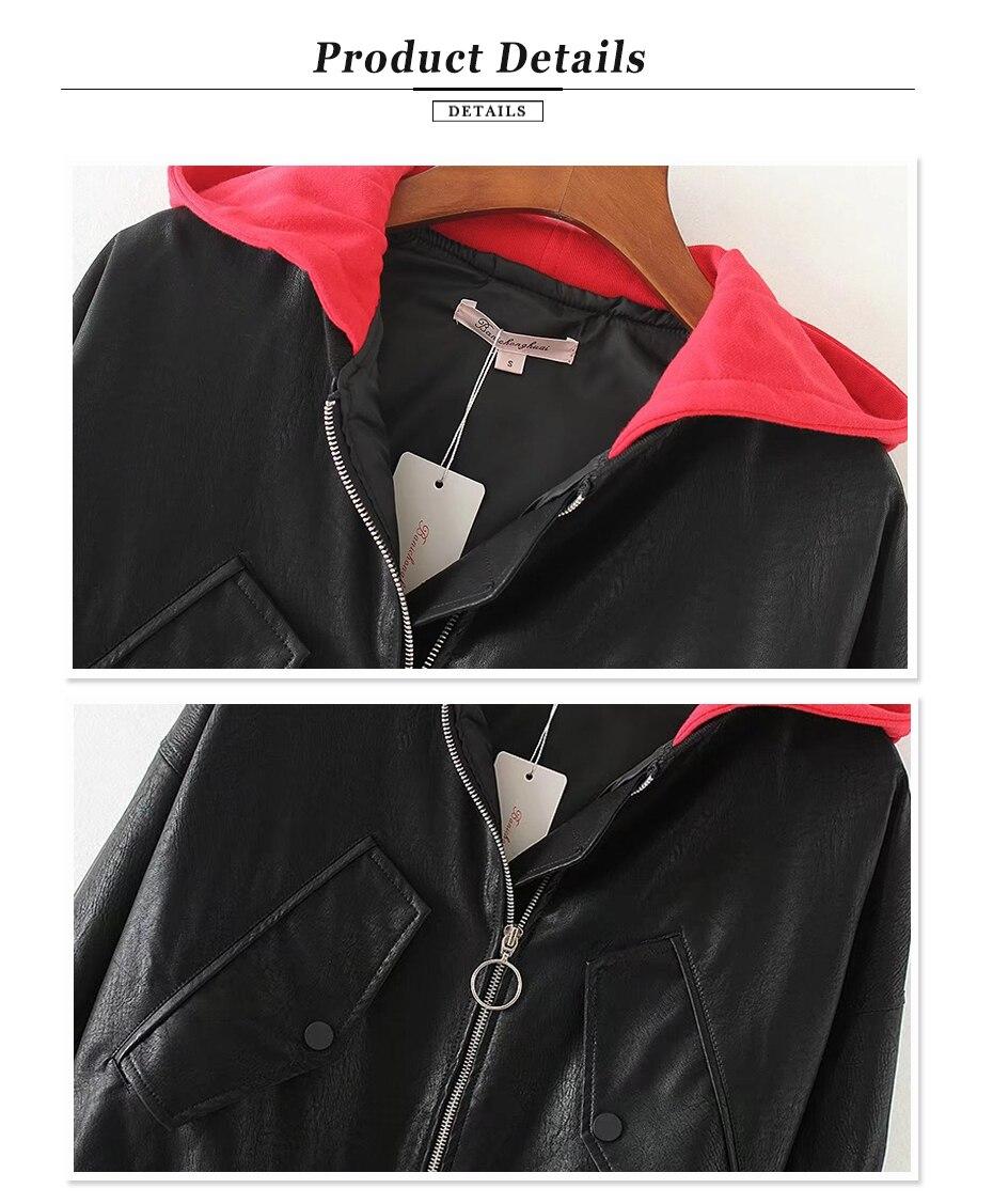 Gaovot hoodie pilot faux black women leather jacket ladies moto coat woman gothic biker jacket womens winter jackets (4)