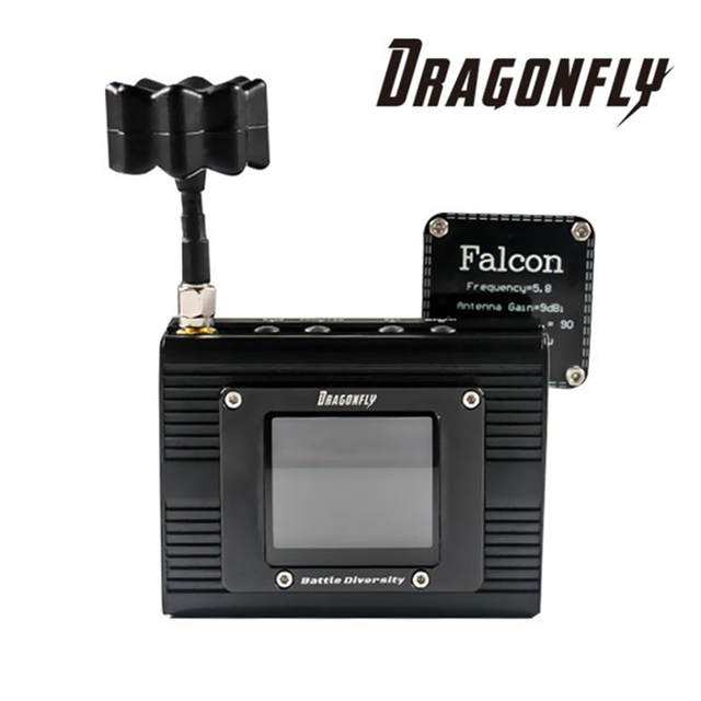 2018 Hot Dragonfly 48CH Battle Diversity Receiver w/ Built-in Monitor FPV  AV Diversity Receiver System for DIY RC Racing Drone